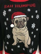 Bah Humpug Dog Ugly Christmas Sweater Women M Pullover Black Red Well Wo... - $33.81