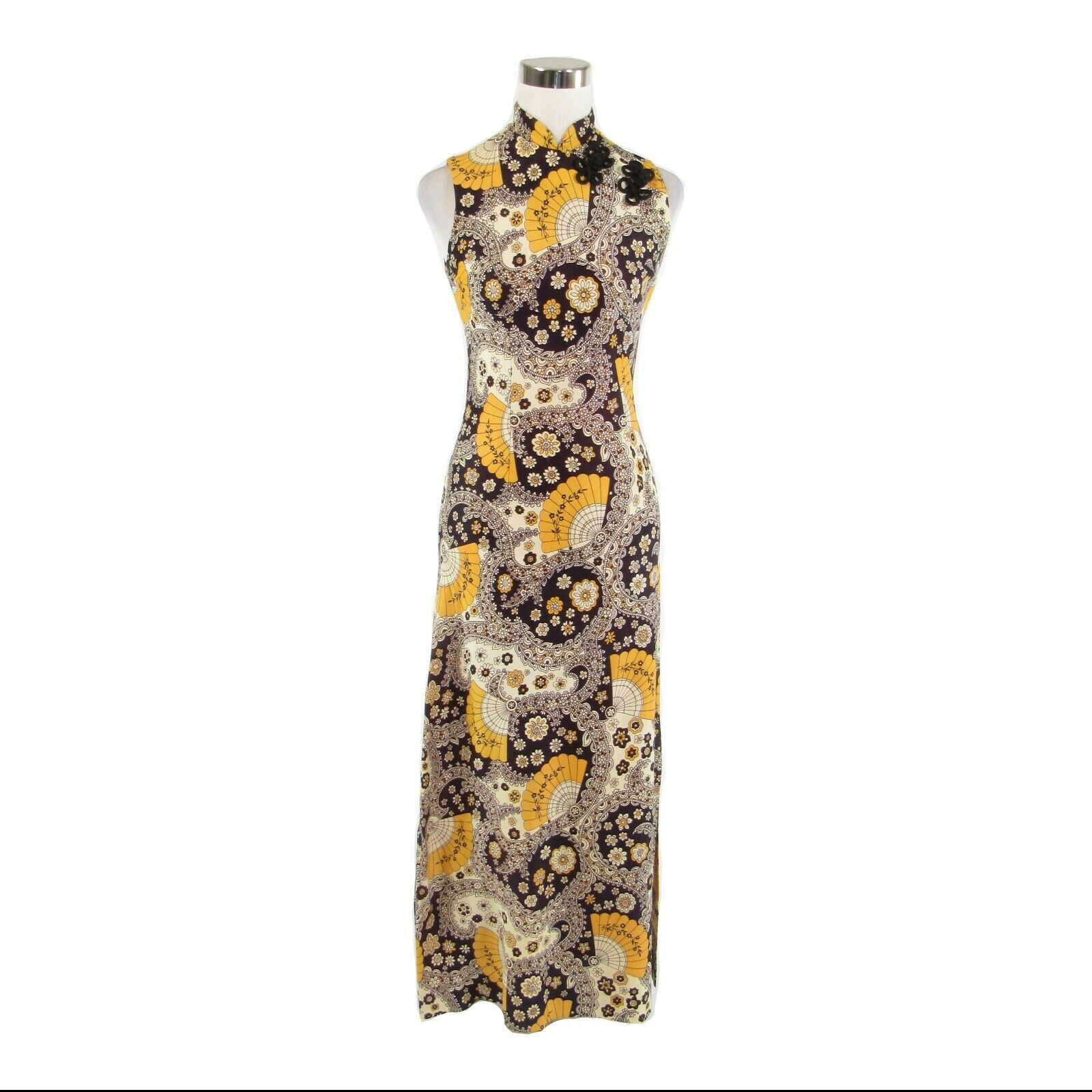 Midnight blue yellow paisley sleeveless vintage maxi dress S