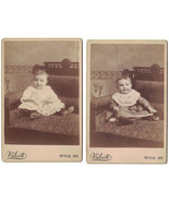 Two CABINET PHOTOS OF BABY GIRL NAME ON BACK of Both -Berlin, Wis.at 6 Mo.& 9 Mo - $17.60
