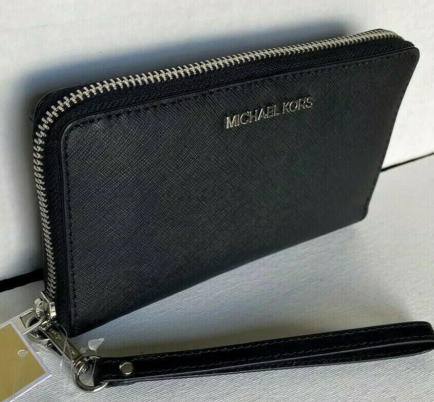 Primary image for New Michael Kors Jet Set Travel Medium zip around phone holder Leather Black