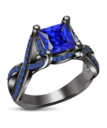 14k Black Gold Finish 925 Silver Womens Blue Sapphire Designer Engagemen... - £57.85 GBP