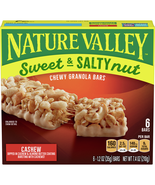 Nature Valley Sweet & Salty Nut Chewy Granola Bars, Cashew, 6 Ct - $6.00