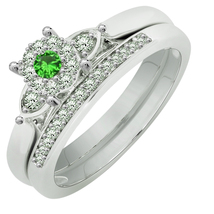 Round Cut Emerald Bridal Engagement Ring Set 14K White Gold Over - $79.99