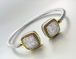 Gorgeous Designer Balinese Square Gold Silver Cable Pave Crystals Cuff Bracelet - $29.99