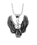 Mens Necklace Stainless Steel Flying Grenade Pendant Chain Jewelry Gift - $18.81