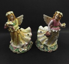 Wildflower Angels by Kathy Phillips 2002 Tealight Candle Holders Set of 2 - $26.99
