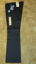 Dickies Girl's School Uniform Flare Flat Front Wide Band Navy Sz 7  32 x... - $14.80