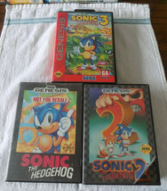 Sonic the Hedgehog 1 2 3 trilogy w/original boxes LOOK NOW (Sega Genesis... - $44.95