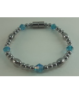 Magnetic Hematite Bracelet With Blue Crystals  SB02 - $25.00