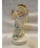 Vintage Lipper & Mann Japan Ceramic May Birthday Angel Figurine w/Umbrel... - $11.95