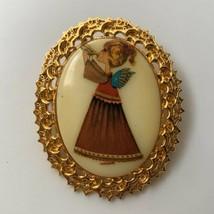 Christmas Angel Girl Brooch Pin Vintage Tancer II Signed Gold Tone Oval  - $19.75