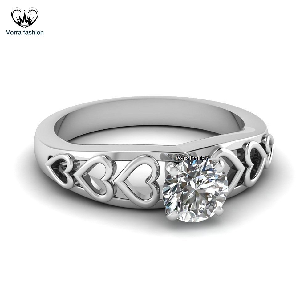 Primary image for Solitaire Heart Shape Engagement Ring Round Cut CZ White Gold Plated 925 Silver