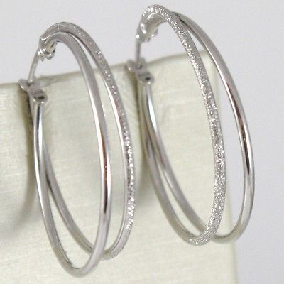 WHITE GOLD EARRINGS 750 18K CIRCLE, DOUBLE TUBE POLISHED SATIN, 3 CM