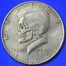 "Kennedy Skull ""Hobo Nickel"" on Kennedy Half Dollar Coin ** - $4.79"