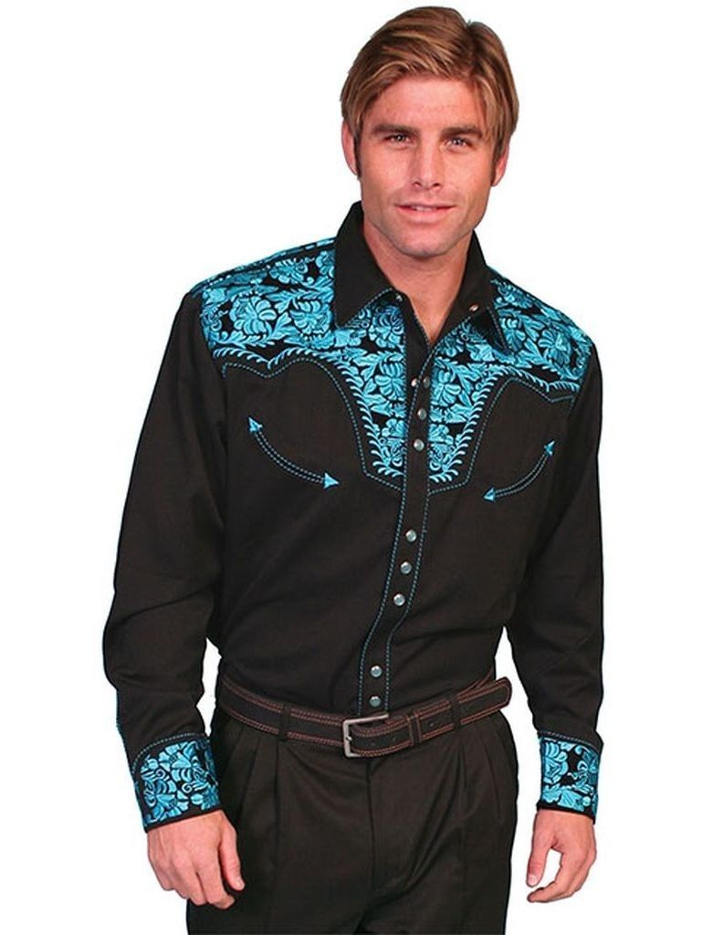 Primary image for Men's Western Shirt Long Sleeve Rockabilly Country Cowboy Turquoise Black
