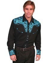 Men's Western Shirt Long Sleeve Rockabilly Country Cowboy Turquoise Black - £68.60 GBP