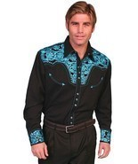 Men's Western Shirt Long Sleeve Rockabilly Country Cowboy Turquoise Black - £66.94 GBP