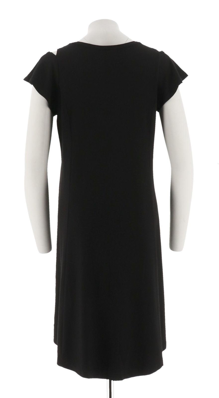 H Halston Petite Knit Crepe Dress Cutout Black PS NEW A308103 image 3