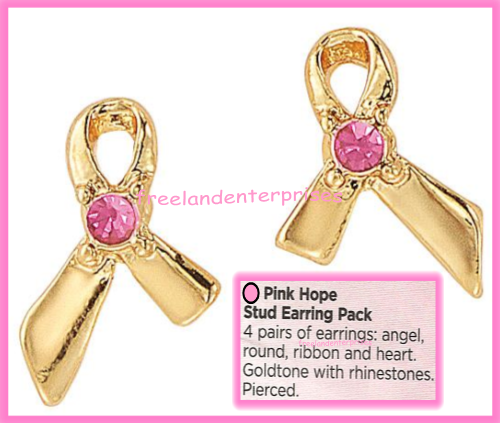 Breast Cancer Pink Hope Stud Earring Pack fo Four Goldtone Earrings 2018 image 10