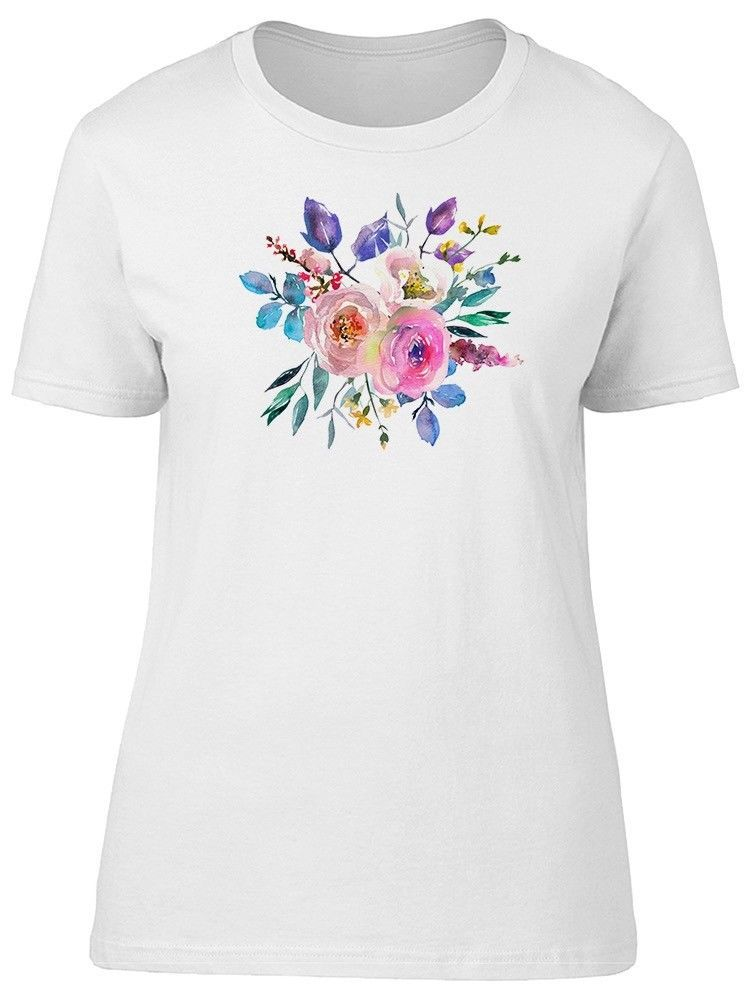 Primary image for Watercolor Pink Blue Flowers Women's Tee -Image by Shutterstock