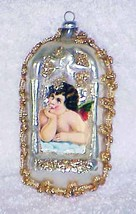 SCRAP ANGEL on Vintage Glass Christmas Ornament West Germany NOS - $12.00