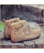 Mountain Moccasins Tassel Fringe Rivet Strap Hand Sewn Gray Color Ankle... - $76.95
