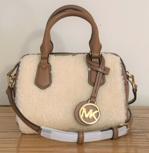 Primary image for Michael Kors Aspen Bedford Mini Crossbody Bag Vanilla Sherpa & Brown Leather NWT