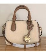Michael Kors Aspen Bedford Mini Crossbody Bag Vanilla Sherpa & Brown Lea... - $144.95