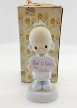 Precious Moments E-7154 God is Love Dear Valentine Girl Holding Heart 19... - $22.05
