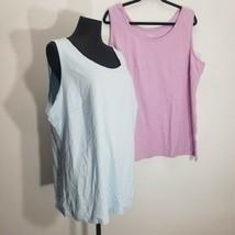 Lands End Blouse Tank Top Womens 3x Cotton Sleeveless Lavender Blue Past... - $26.11