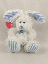 Ty Beanie Baby Hopsy White Rabbit Plush Bunny Blue Stripes 2007 Stuffed ... - $4.65