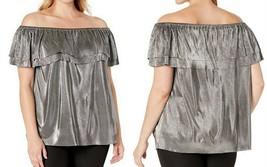 MICHAEL Michael Kors Plus Metallic Pleated Off the Shoulder Top Silver S... - $39.48