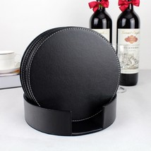 Durable PU Leather Cup Mat Round Cup Coaster Pad Tea Cup Cushion Drink H... - $22.65