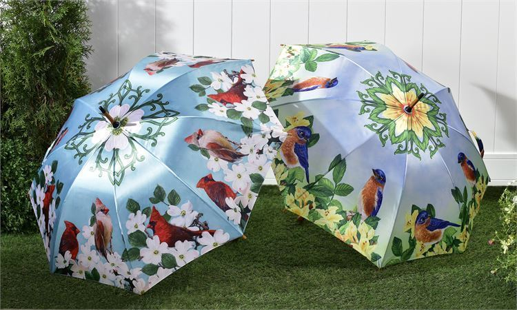 Full Size Classic Satin Umbrella with Wood Handle  -  Cardinal or Yellow Bird