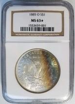 1885 O Silver Morgan Dollar NGC MS 63 STAR Rainbow Crescent Toned Tonin... - $152.99