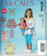 "McCalls Pattern M7043 Pullover Top, Dress+ Leggings Girls+ 18"" Dolls Sz ... - $6.93"