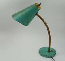 Mid Century Richlite Turquoise Industrial Lamp Office Desk Gooseneck  - $48.37