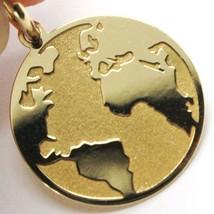 Yellow Gold Pendant 750 18K, Globe Flat, Satin, 16 mm, Italy Made image 2
