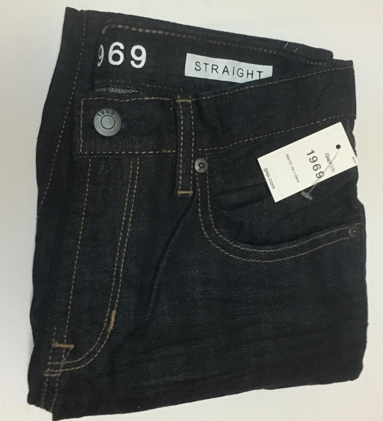 GAP KIDS Original Jeans Straight Loose Fit Sz 8 Husky Dark Blue NWT