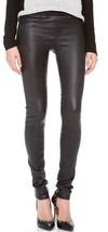 Helmut Lang Stretch Plonge Leder Leggings Hose Jeans Schwarz Größe 2 89.5cm - $427.99