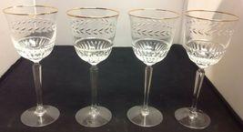 "Lenox Crystal CLASSIC LAUREL Set of 4 - 8"" Water Goblets (Gold Rim) image 3"