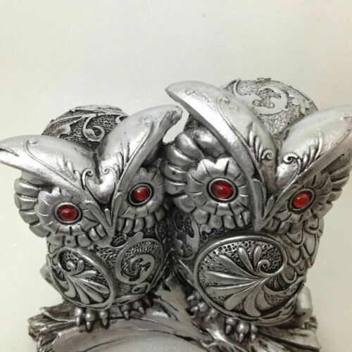 "OWL COUPLE FIGURINE Silver Scroll Pattern Red Eyes 6"" Tall Gift Decor GSC 54367"