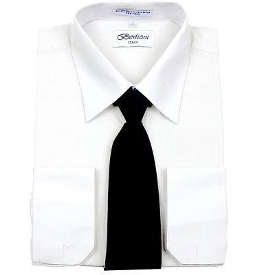 Berlioni Men's Business Work Standard Cuff Dress Shirt Tie Set White Black