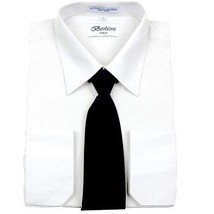 Berlioni Men's Business Work Standard Cuff Dress Shirt Tie Set White Black - $24.95