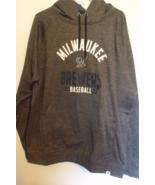 Mens Fanatics NWT Milwaukee Brewers Heathered Gray Hooded Sweatshirt Siz... - $49.95