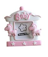 East Majik [Wooden Horse] Lovely Pink Baby Photo Frame for 2 inch Photo - $21.96