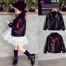 Fashion Kids PU Leather Jacket Black Embroidery Vintage Cardigan Coat fo... - $41.20