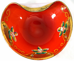 Murano Cased Glass Bowl Red over White with Enamel Flowers & Gold Trim - $39.99