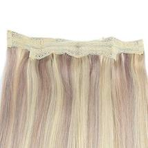 Fshine Halo Crown Extensions Remy Human Hair Color 18 And 613 Blonde Highlighted image 6