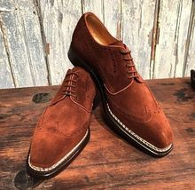 Handmade Men's Dark Brown suede Wing Tip White Stitching Dress Oxford Shoes image 4